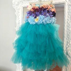 TEAL FLORAL GARDEN Ballerina Bustier PARTY Dress